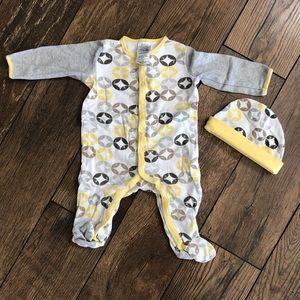 Yellow Baby Sleep & Play Pajamas with Hat